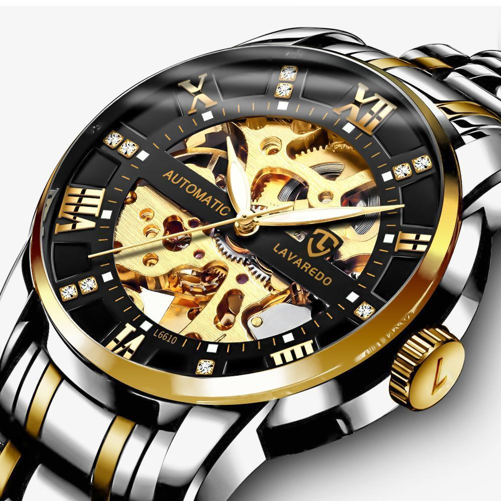 Men's Watch Luxury Mechanical Stainless Steel Skeleton Waterproof Automatic Self-Winding Rome Number Diamond Dial Wrist Skeleton Watch