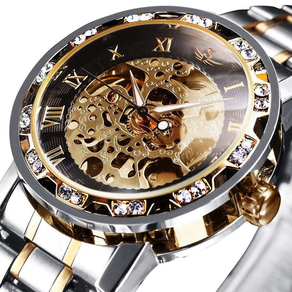 Men's Watches Mechanical Hand-Winding Skeleton Watch,Classic Business Fashion Stainless Steel Steampunk Dress Watch