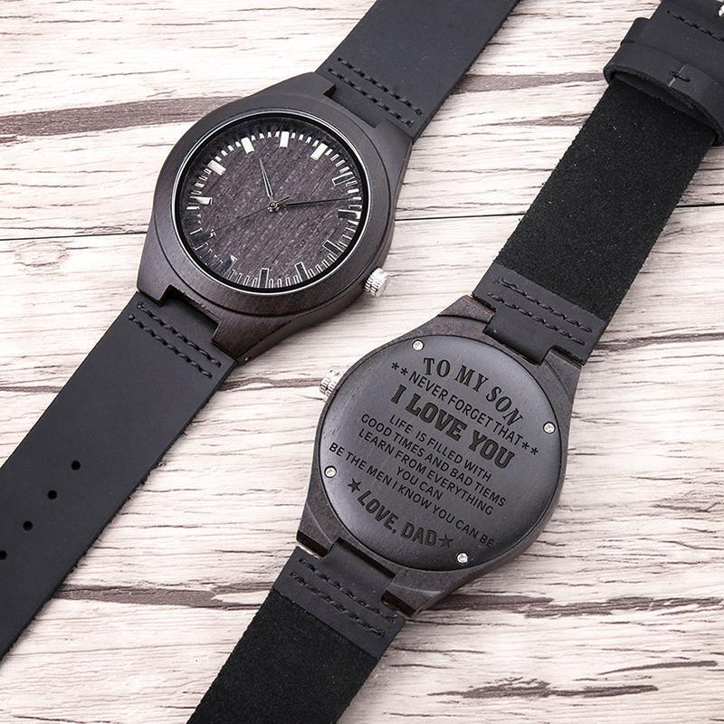 Engraved Watch for Men,Natural Custom Personalized Leather Strap Black Sandalwood Wood Groomsmen Watches-Watch Outfitters
