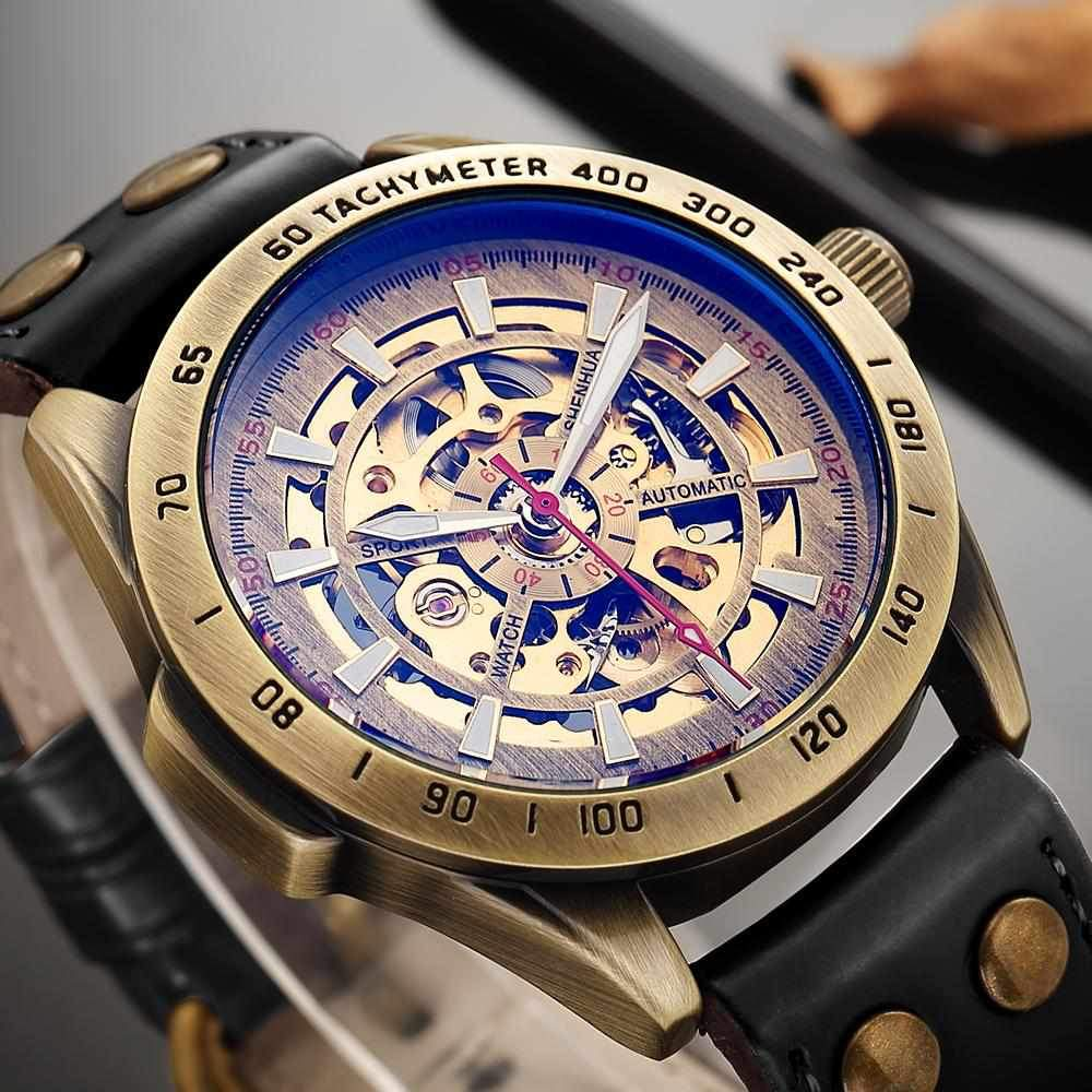 Retro Mens Watches Automatic Mechanical Self-Winding Skeleton Wristwatches