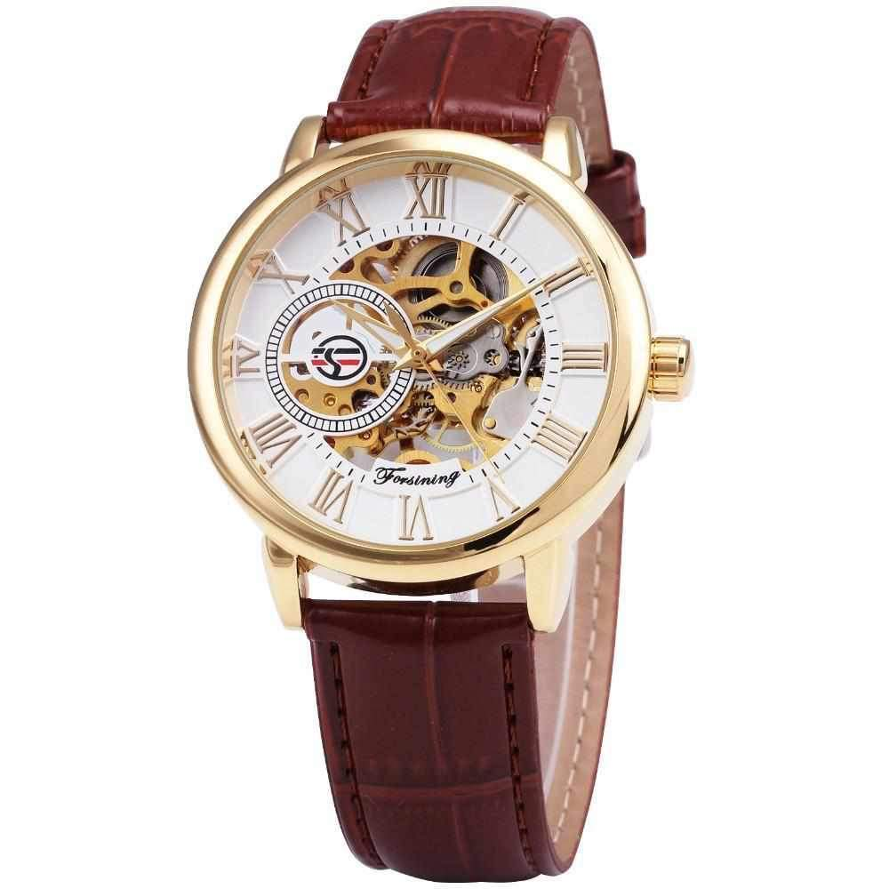 Gold Dial Forsining Men Skeleton Mechanical Leather Watch-Watch Outfitters