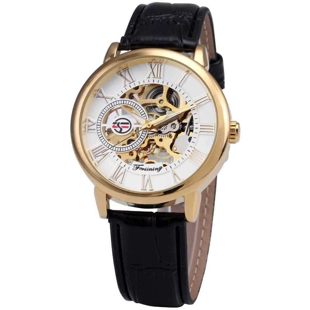 Gold Dial Forsining Men Skeleton Mechanical Leather Watch-Watch OutfittersMen Skeleton Watch