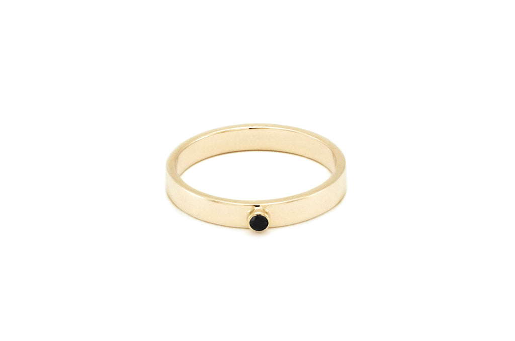 BAGUE OR BLANC 14K - DIAMANT NOIR 2MM - LISA