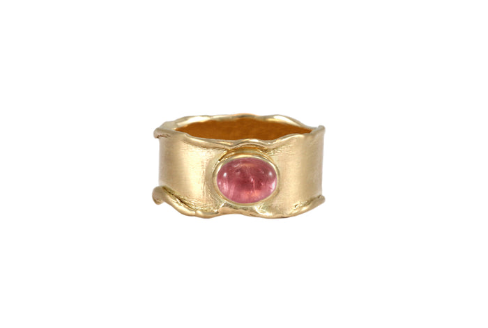BAGUE OR JAUNE 14K - TOURMALINE ROSE - FORMA