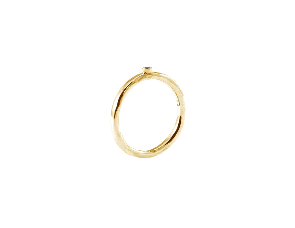 BAGUE OR JAUNE 14K - DIAMANT 1.5MM - BALI