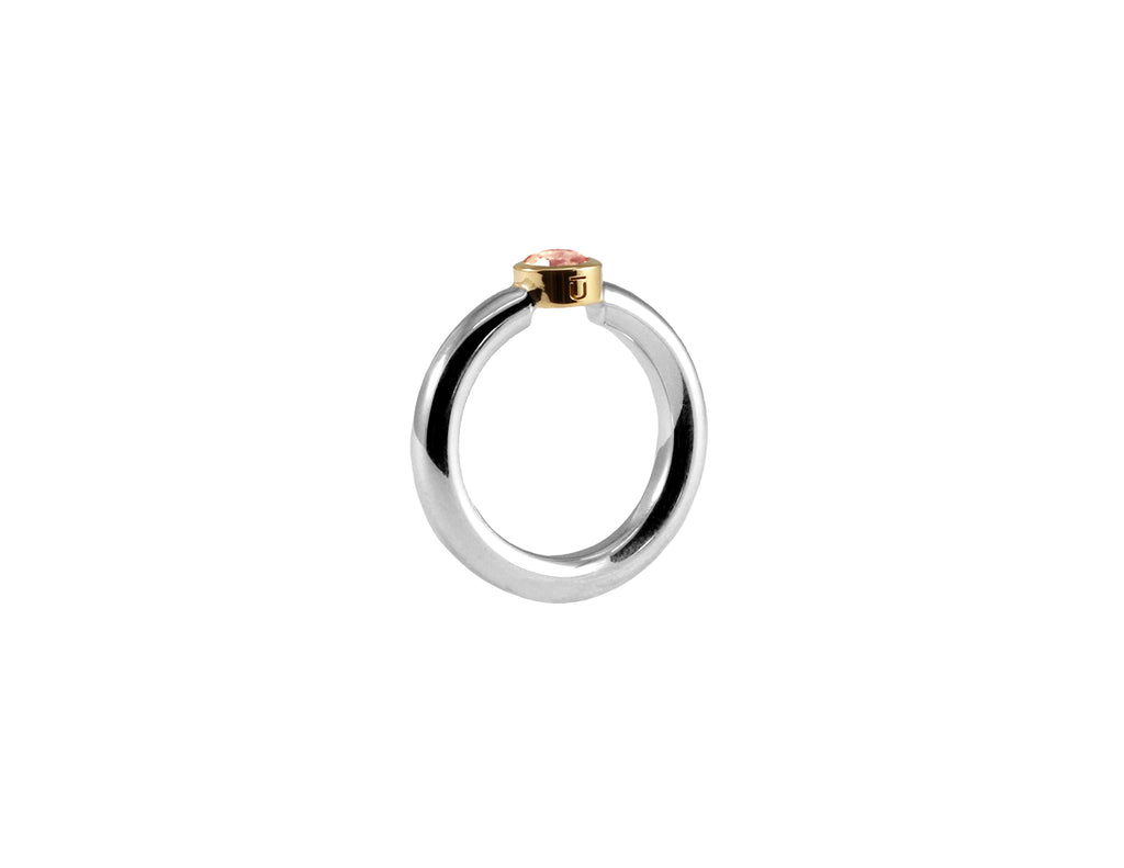 BAGUE ARGENT 925 - SERTI OR JAUNE 14K - MORGANITE 5MM - BALI