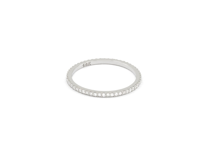 JONC ÉTERNITÉ - BAGUE OR BLANC 14K - DIAMANTS  - VIDA
