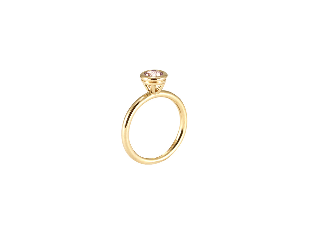 BAGUE OR JAUNE 14K - MORGANITE 5MM - BODA