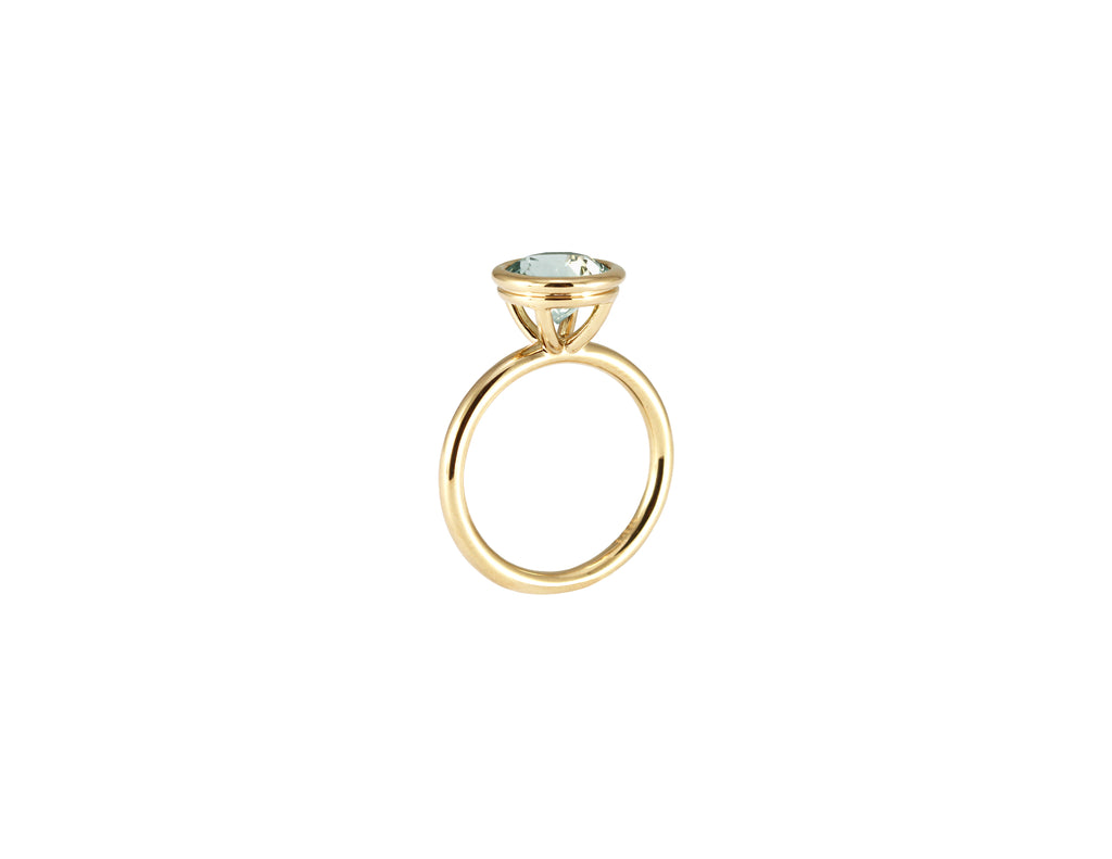 BAGUE OR JAUNE 14K - PRASIOLITE 8MM - BODA