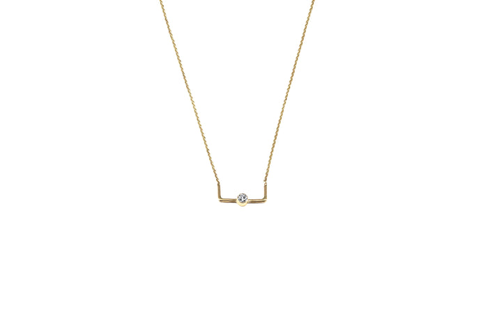 COLLIER OR JAUNE 14K - DIAMANT 2.5MM - LE DÉLICAT