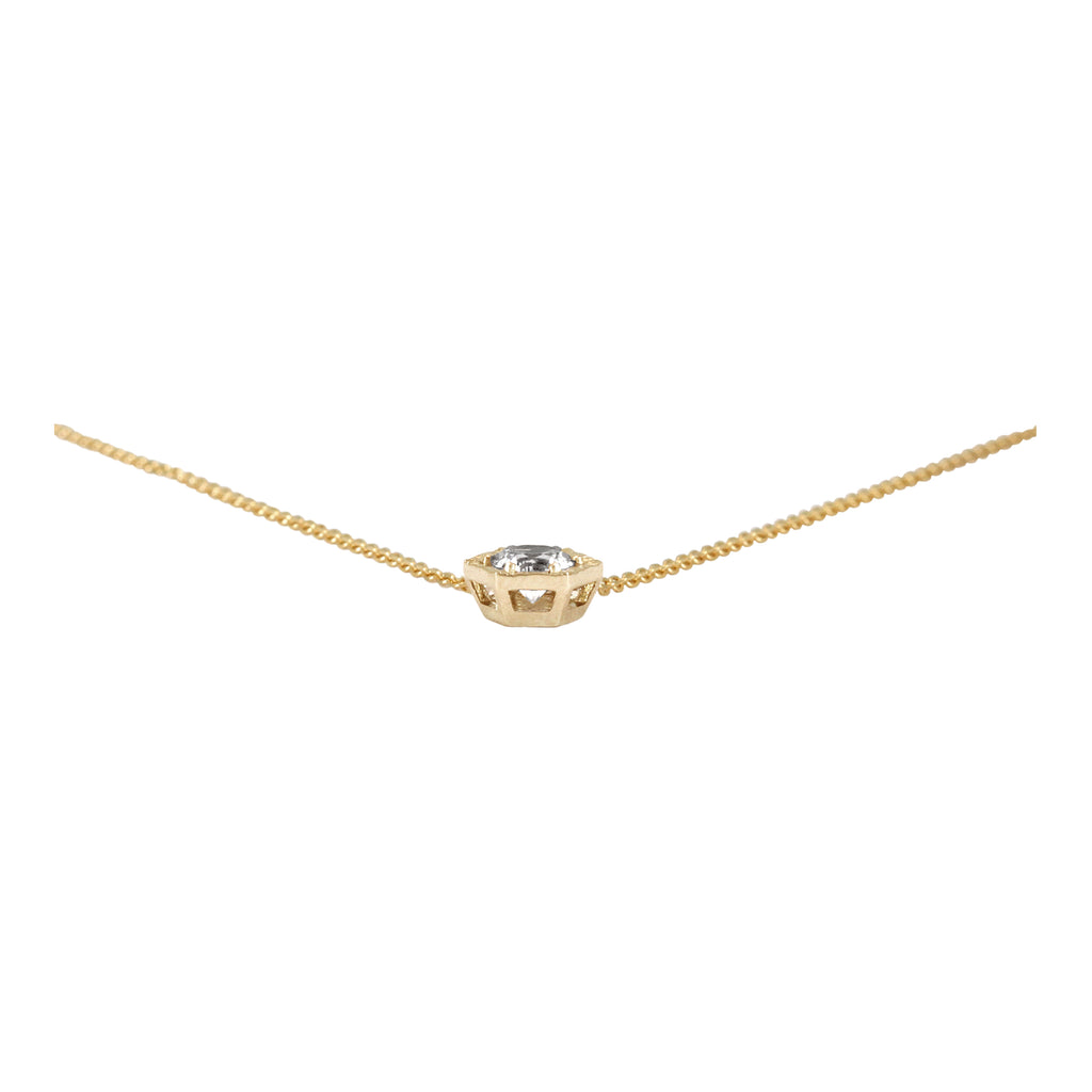 COLLIER OR ROSE 14K - SAPHIR INCOLORE 5MM - DIA
