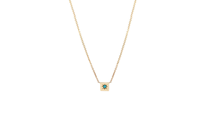 COLLIER OR JAUNE 14K - CARRÉ - PIERRE TURQUOISE - ODHAM
