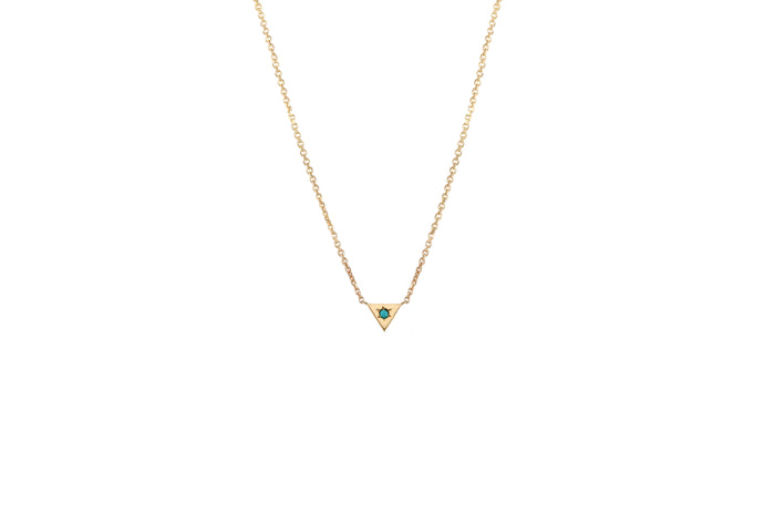 COLLIER OR JAUNE 14K - TRIANGLE - PIERRE TURQUOISE - ODHAM