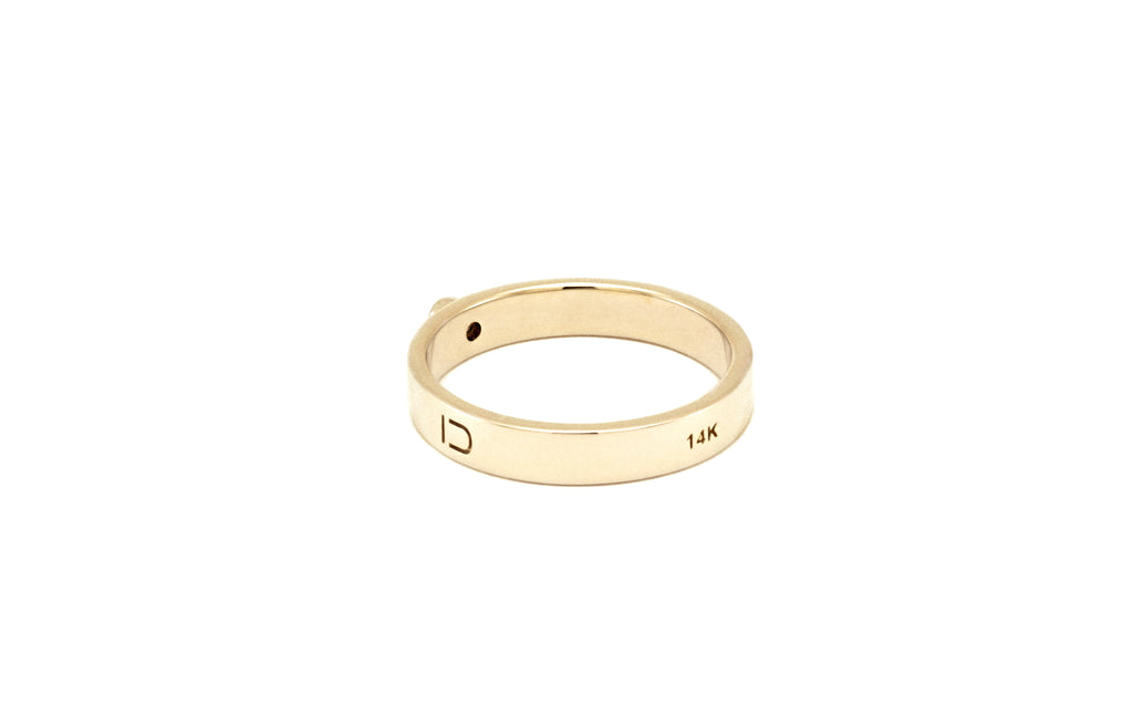 BAGUE OR JAUNE 14K - DIAMANT NOIR 2MM - LISA