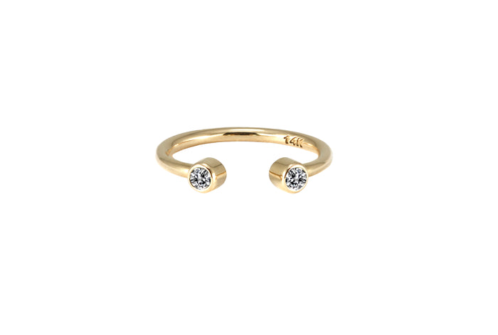 BAGUE OR JAUNE 14K - DIAMANTS 2.5MM - SEGUNDA