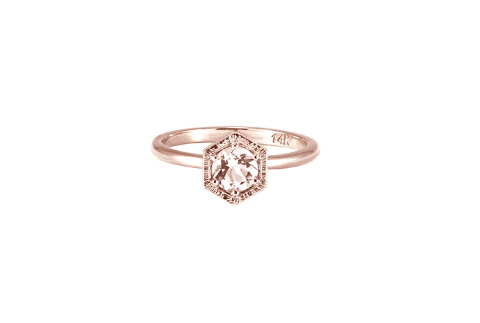 BAGUE OR ROSE 14K -  MORGANITE 5MM - DIA