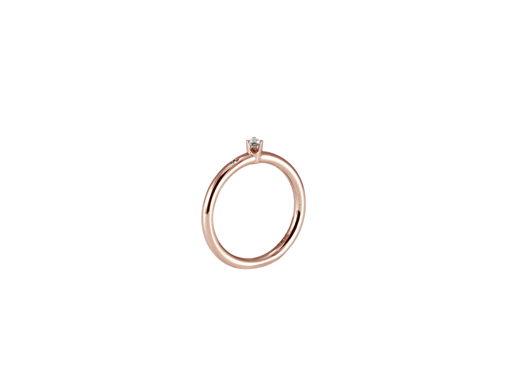 BAGUE OR ROSE 14K - DIAMANT 2.5MM & DIAMANT 1.2MM- SOLEDAD