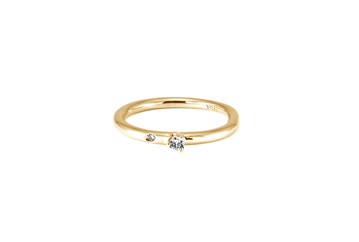 BAGUE OR JAUNE 14K - DIAMANT 2.5MM & DIAMANT 1.2MM- SOLEDAD