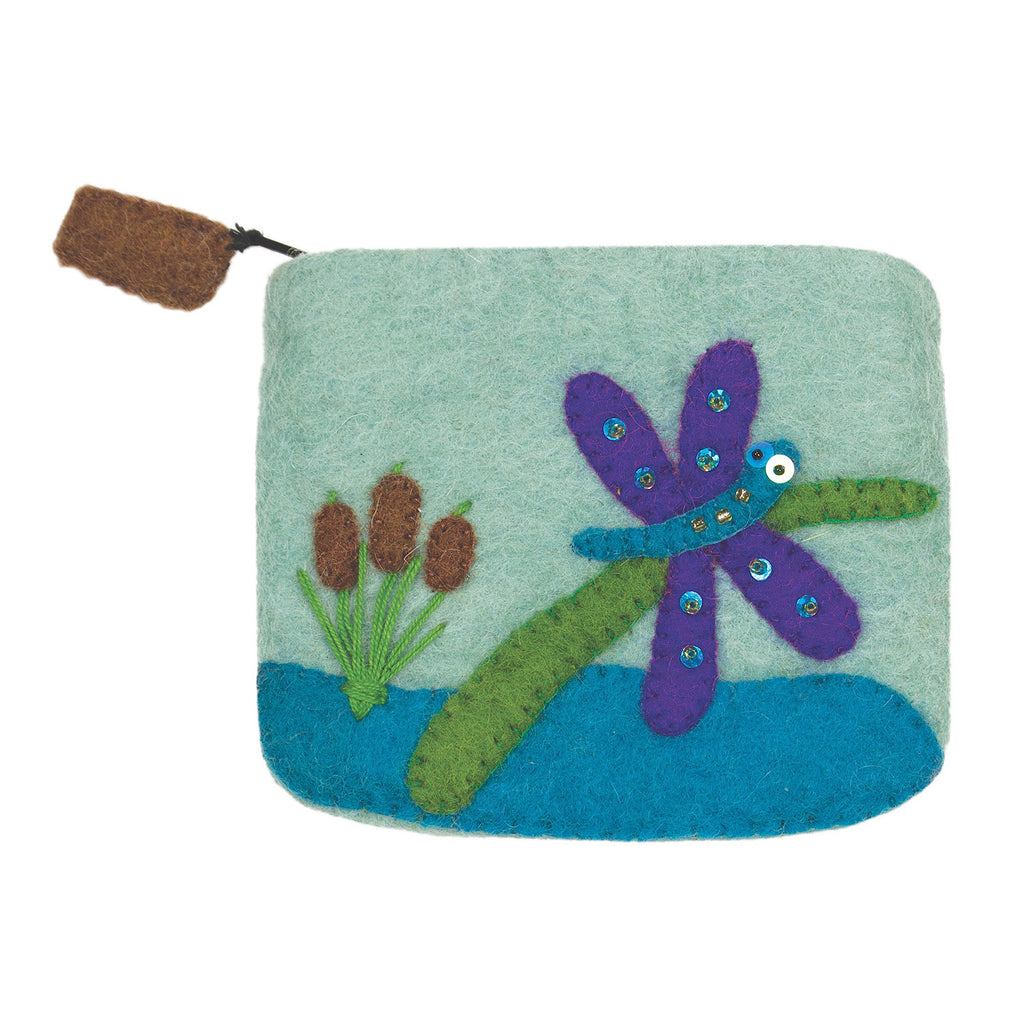 Felt Coin Purse - Cat Tail Dragonfly Handmade and Fair Trade