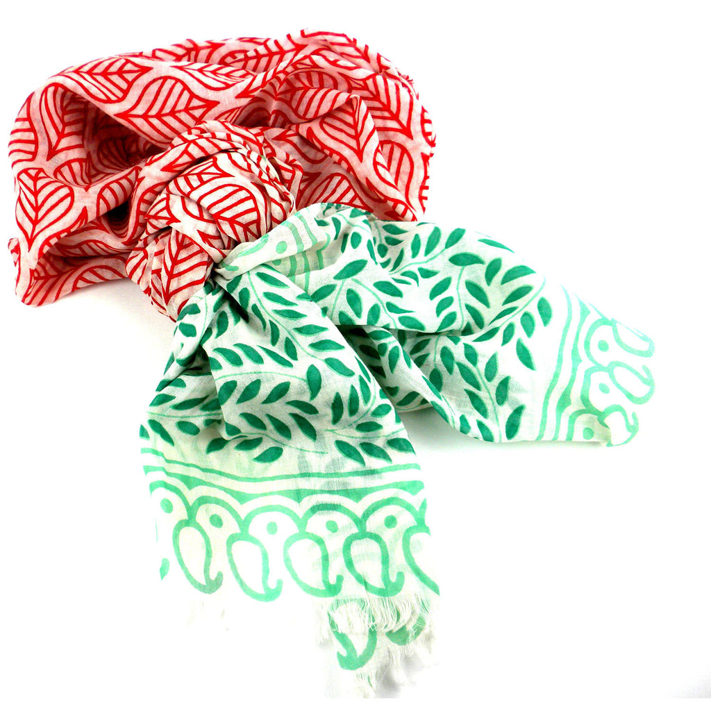 Red and Green Leaf Design Cotton Scarf Handmade and Fair Trade