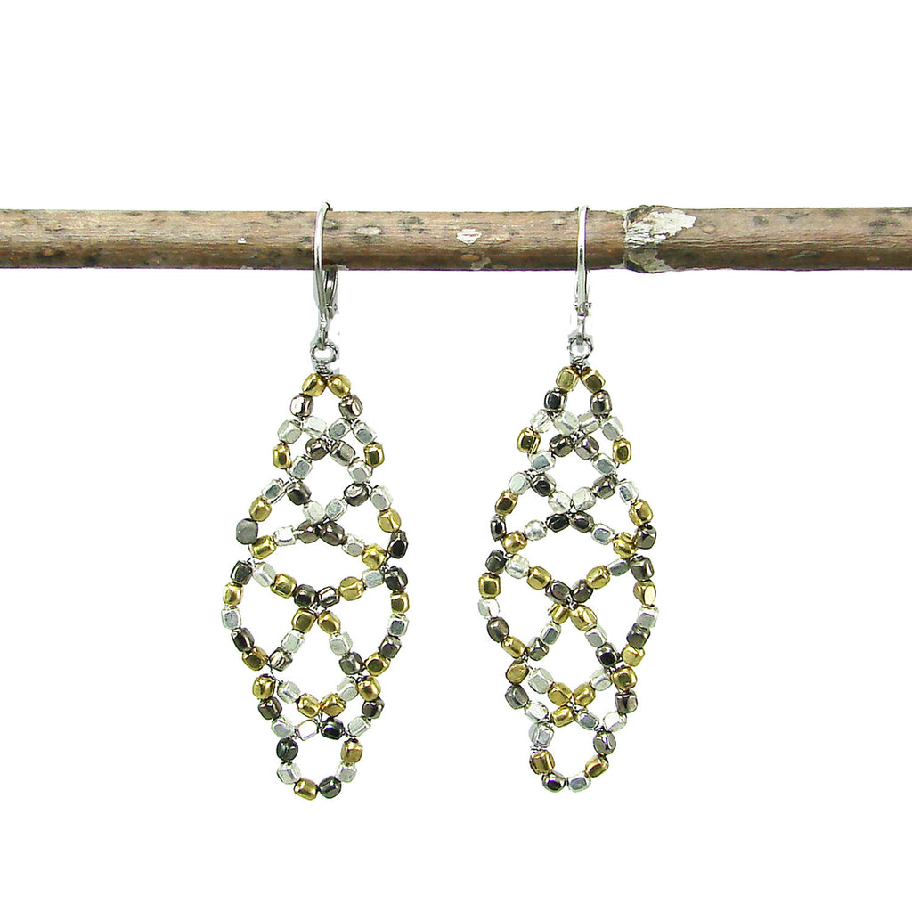 Metallic Lattice Earrings Handmade and Fair Trade