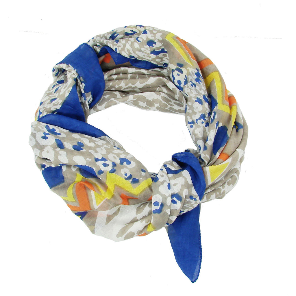 Abstract Animal Scarf - Cobalt Handmade and Fair Trade