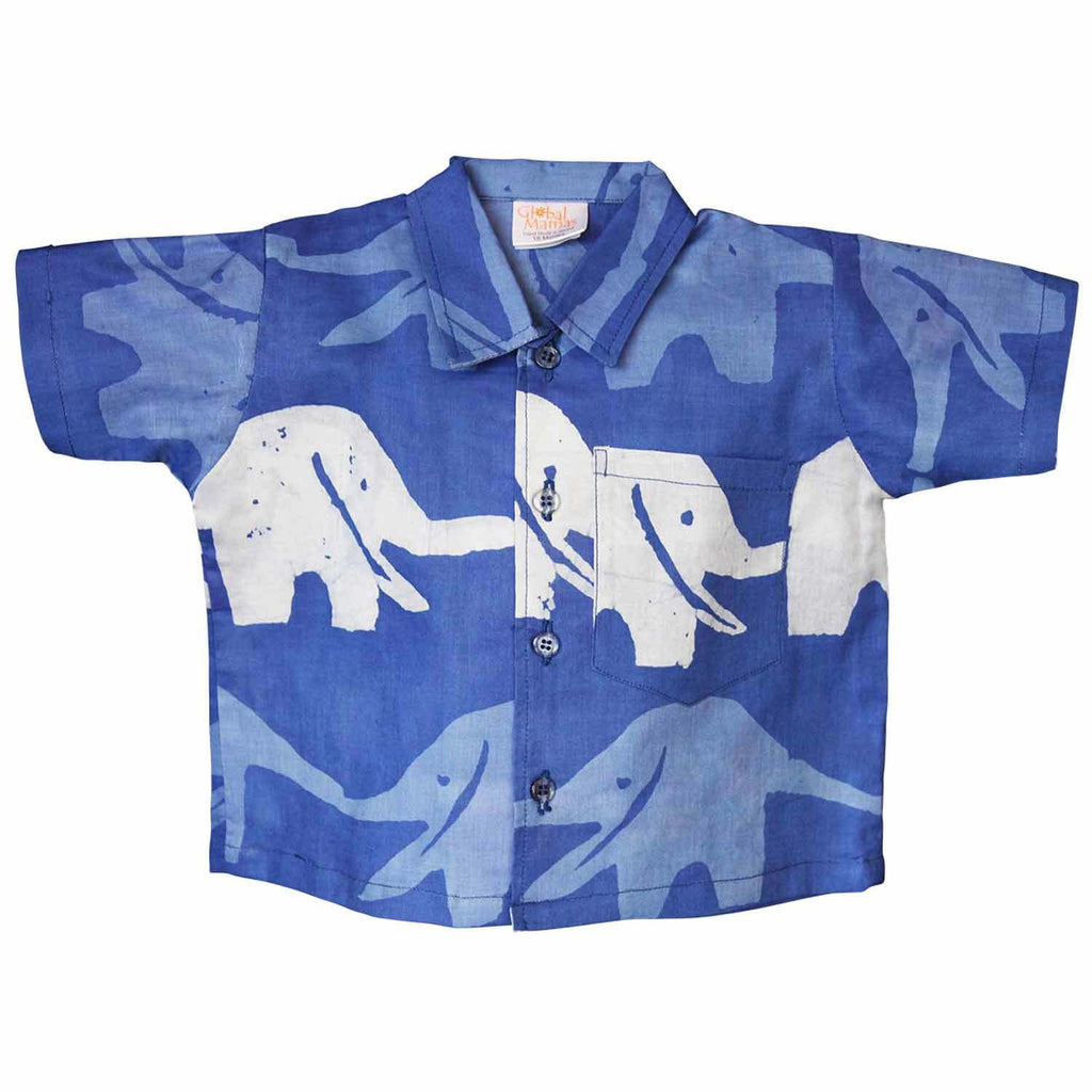 Baby Button Down Shirt - Blueberry Elephants - Global Mamas (B)