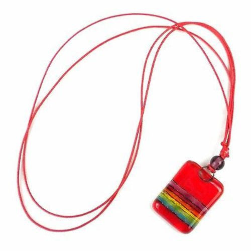 Red Rainbow Fused Glass Pendant Necklace Handmade and Fair Trade