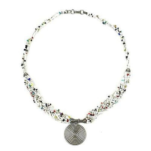 Single Spiral 'Elegance' Braided White Bead Necklace Handmade and Fair Trade
