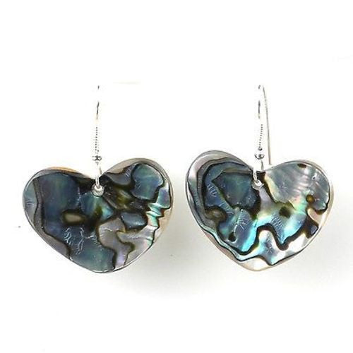 Josefa Abalone Heart Earrings Handmade and Fair Trade