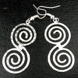 Hammered Scroll Silver Overlay Earrings Handmade and Fair Trade