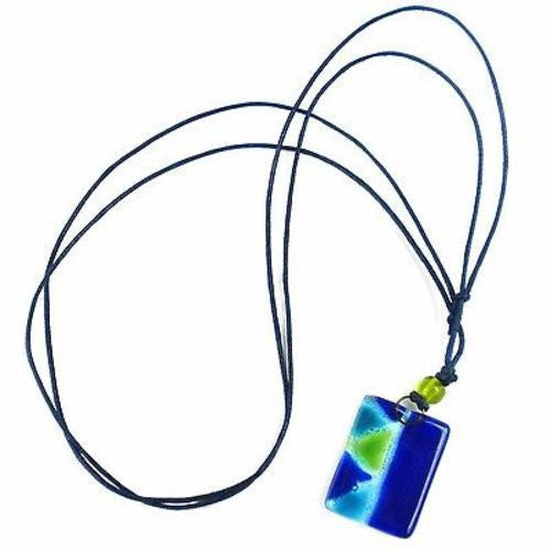 Blue Zig-Zag Fused Glass Pendant Necklace Handmade and Fair Trade