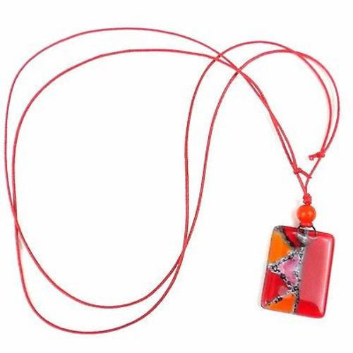 Red Zig-Zag Fused Glass Pendant Necklace Handmade and Fair Trade