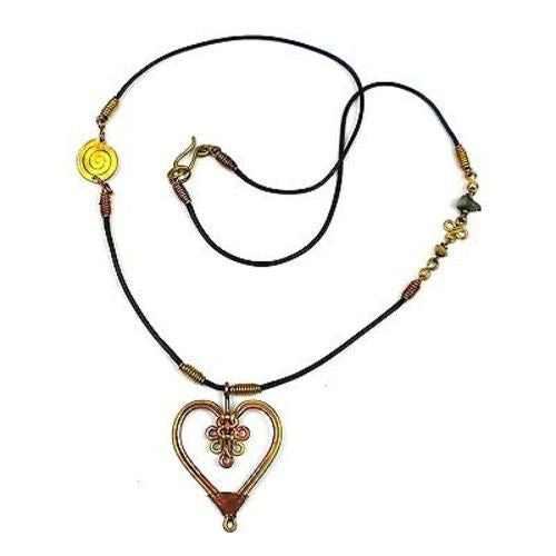 Handcrafted Copper and Brass Heart Pendant Necklace Handmade and Fair Trade