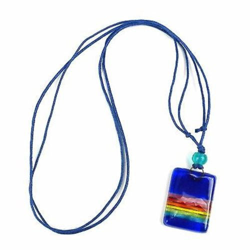 Deep Blue Rainbow Fused Glass Pendant Necklace Handmade and Fair Trade