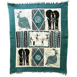 Dancers and Animals Batik in Blue/Black Handmade and Fair Trade
