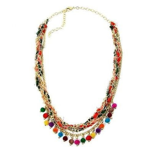 Multicolor Kantha Carnival Necklace Handmade and Fair Trade