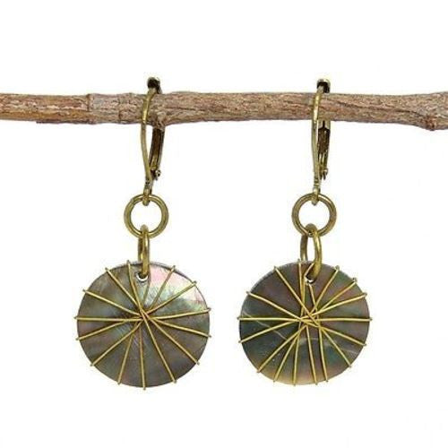 Wire-wrapped Round Shell Earrings Handmade and Fair Trade