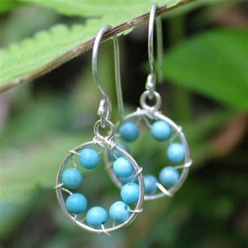 Turquoise Inner Circle Earrings Handmade and Fair Trade