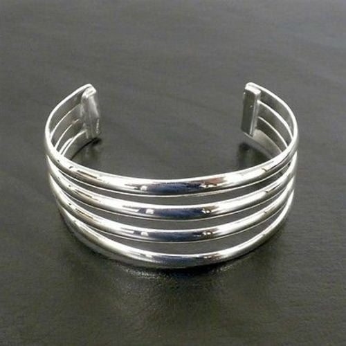 Silver Overlay Cuff  Four Bar Design Handmade and Fair Trade