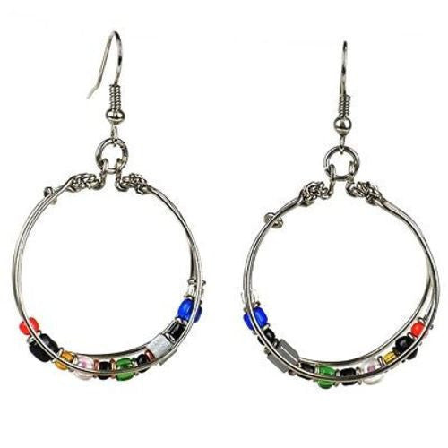 Handmade Beaded Silverplated Wire Loop Earrings Handmade and Fair Trade