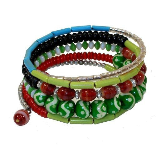 Five Turn Bead and Bone Bracelet - Green & Blues - CFM