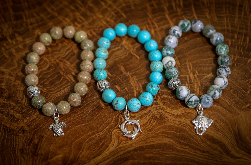 Marine Collection on wood - Bracelets That Give Back