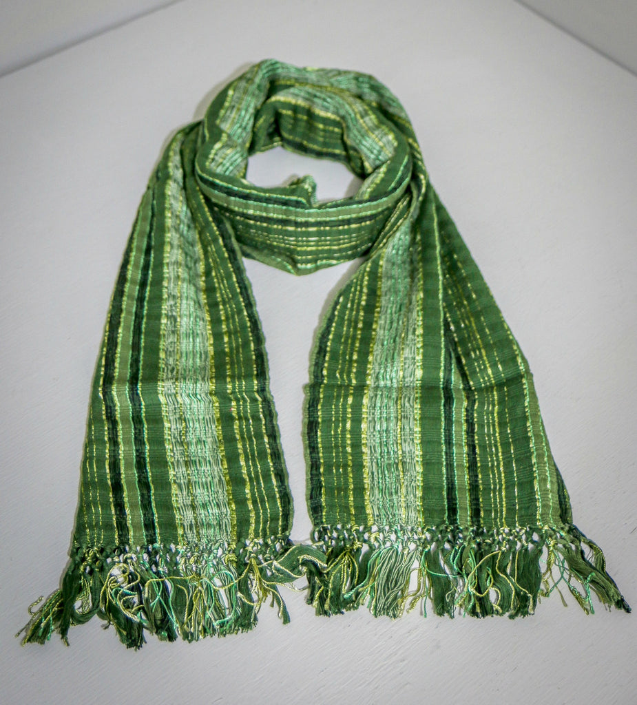 Shimmery Green Scarf by San Juan Weaver's Group