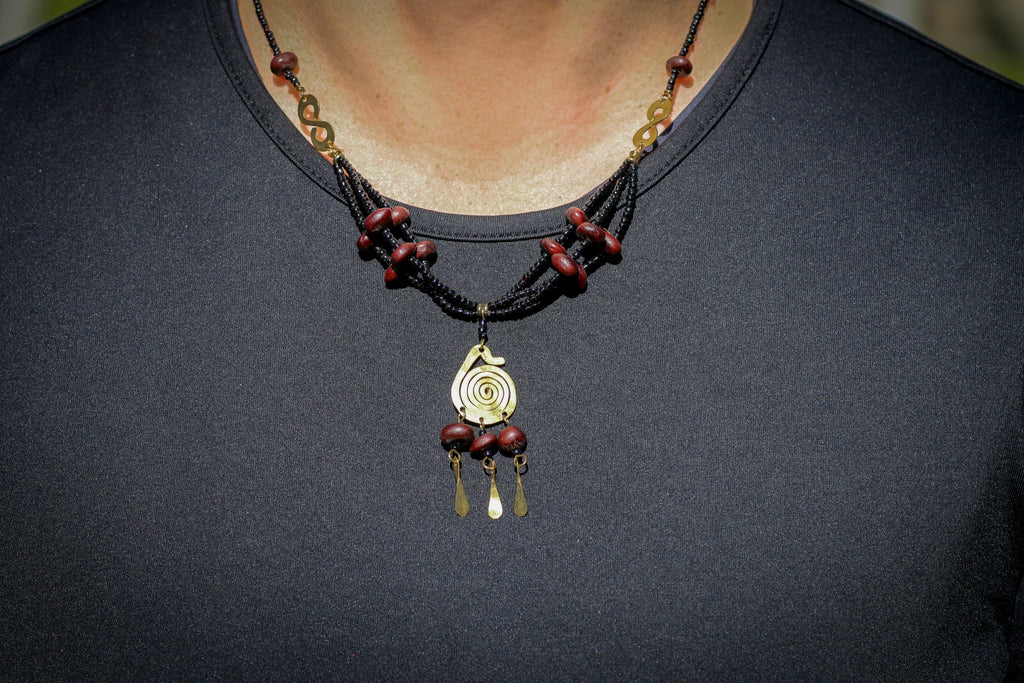 Maasai Bronze Spiral Beaded Necklace with Red and Black Beads