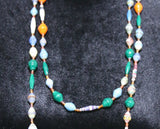 Long Glossy Recycled Paper Necklace - Green, Blue with Orange Accent Beads