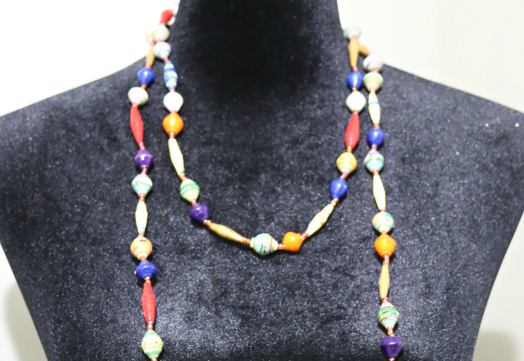 Long Glossy Recycled Paper Necklace - Red, Blue & Orange