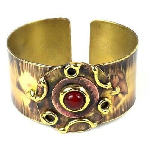 Carnelian Medallion Copper and Brass Cuff Handmade and Fair Trade