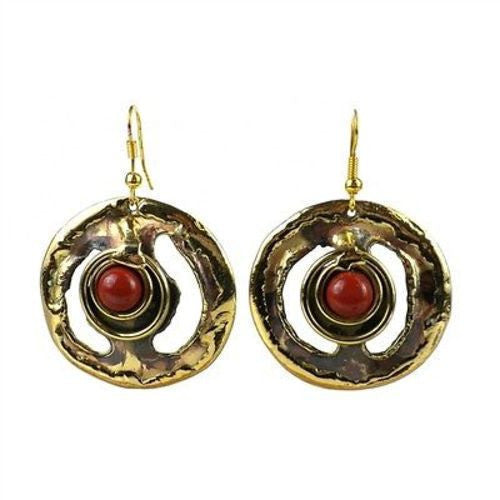 Earth's Core Red Jasper Brass Earrings Handmade and Fair Trade