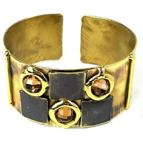 Handcrafted Showplace Brass Cuff Handmade and Fair Trade